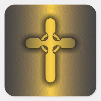 Cruz céltica (oro) pegatina cuadrada