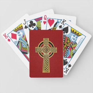 Cruz céltica, oro y rojo baraja cartas de poker