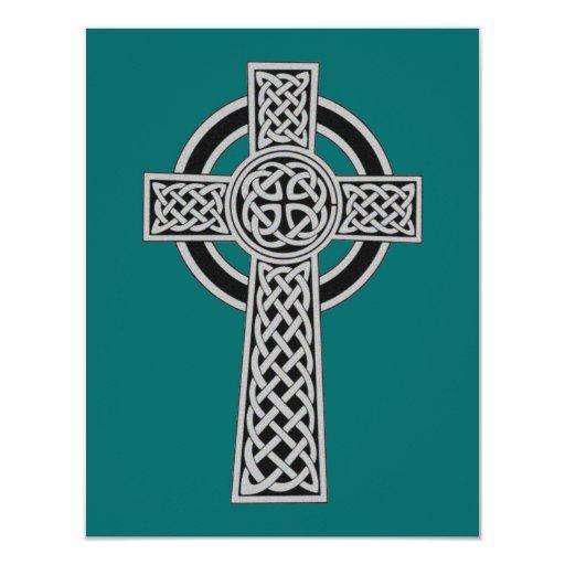 Cruz céltica - plata invitación 10,8 x 13,9 cm
