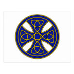 Cruz céltica redonda en azul y oro postales