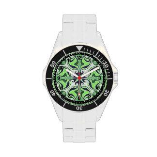 Cruz céltica retra verde relojes de mano
