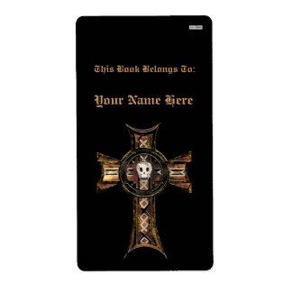 Cruz céltica y cráneo (oro) (Bookplate) Etiqueta De Envío