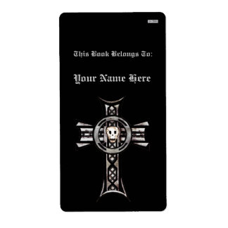 Cruz céltica y cráneo (plata) (Bookplate) Etiqueta De Envío