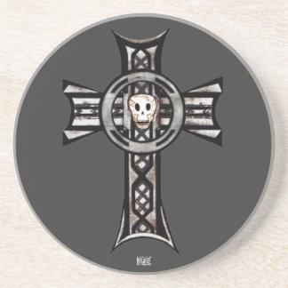 Cruz céltica y cráneo (plata) posavasos diseño