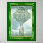 Cruz céltica y nubes verdes impresiones