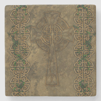 Cruz céltica y nudos célticos posavasos de piedra
