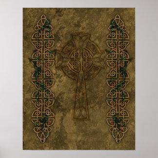 Cruz céltica y nudos cruzados póster