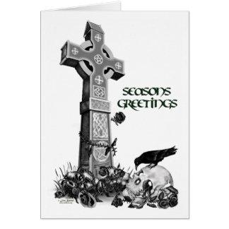 Cruz céltica y tarjeta de Navidad del cuervo