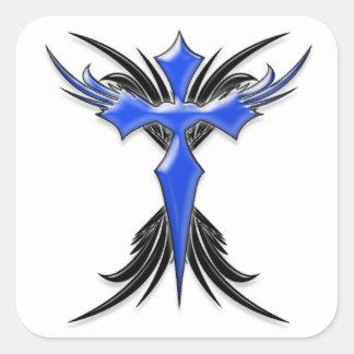Cruz coa alas azul calcomanía cuadradas