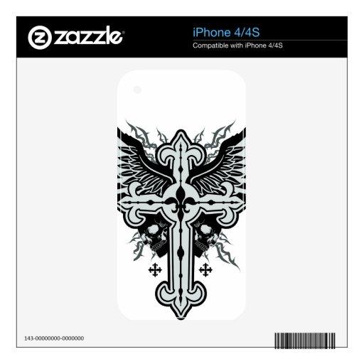 Cruz coa alas cráneo skins para eliPhone 4