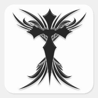 Cruz coa alas negro pegatina cuadradas personalizadas