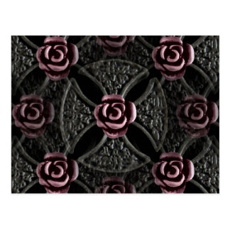 Cruz color de rosa medieval gótica postal