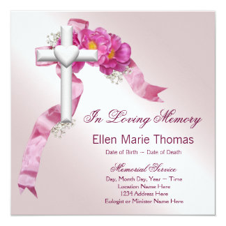 """Cruz color de rosa rosada en monumento cariñoso de invitación 5.25"""" x 5.25"""""""