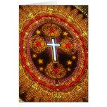 Cruz colorida de luces tarjeta de felicitación