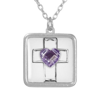 cruz con el birthstone en forma de corazón de febr colgante cuadrado