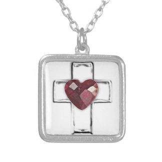 cruz con el birthstone en forma de corazón de juli colgante cuadrado