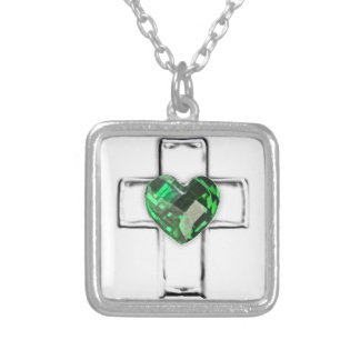 cruz con el birthstone en forma de corazón de mayo colgante cuadrado