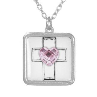 cruz con el birthstone en forma de corazón de octu colgante cuadrado