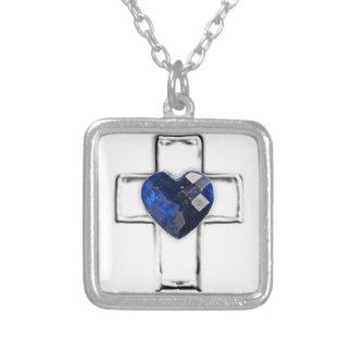 cruz con el birthstone en forma de corazón de sept colgante cuadrado