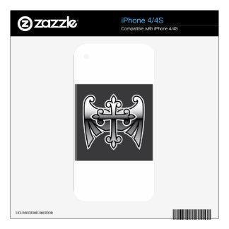 Cruz con el icono bronce de cañón del vector del calcomanías para iPhone 4S