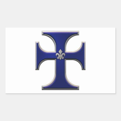 Cruz con la flor de lis - azul etiqueta