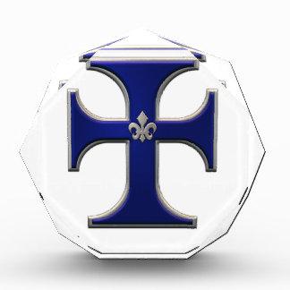 Cruz con la flor de lis - azul