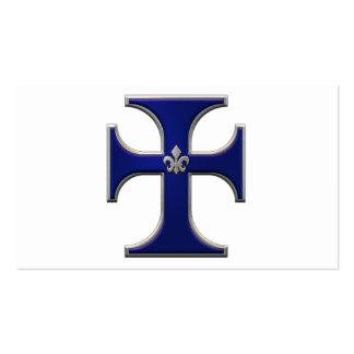 Cruz con la flor de lis - azul tarjeta de negocio