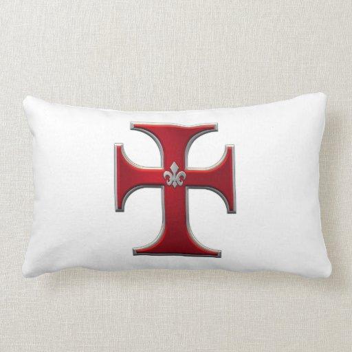 Cruz con la flor de lis - rojo almohadas