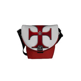 Cruz con la flor de lis - rojo bolsas de mensajería