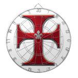 Cruz con la flor de lis - rojo tablero dardos