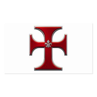 Cruz con la flor de lis - rojo tarjeta de negocio