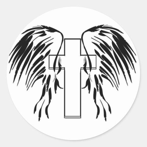 Cruz con las alas etiqueta redonda