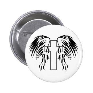 Cruz con las alas pin redondo de 2 pulgadas