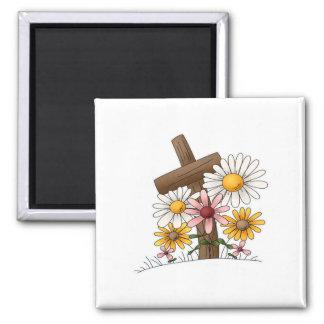 Cruz con las flores imán cuadrado