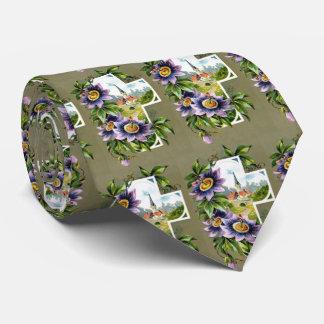 Cruz con las flores púrpuras corbata personalizada