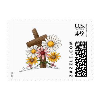 Cruz con las flores timbre postal
