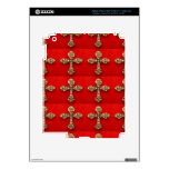 Cruz con las joyas: Modelo en base roja Pegatina Skin Para iPad 3