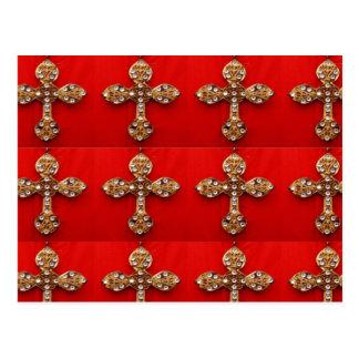 Cruz con las joyas: Modelo en base roja Tarjeta Postal