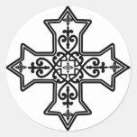 Cruz copta blanco y negro pegatina redonda