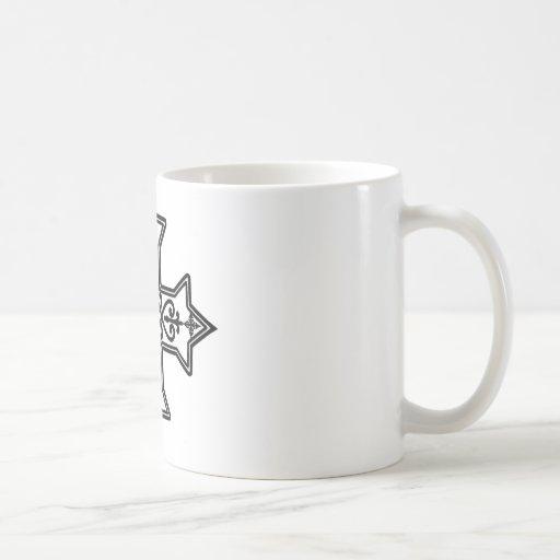 Cruz copta blanco y negro tazas de café