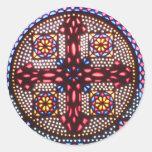 Cruz copta pegatina redonda
