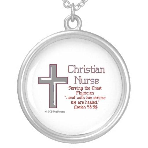 Cruz cristiana 2 de la enfermera collar personalizado