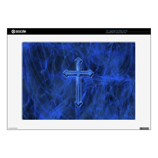 Cruz cristiana azul skins para 38,1cm portátil