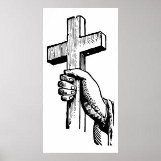 Cruz cristiana blanco y negro de Pascua del vintag Póster