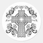 Cruz cristiana céltica etiqueta redonda
