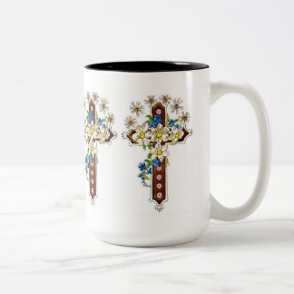 Cruz cristiana con halo tazas de café
