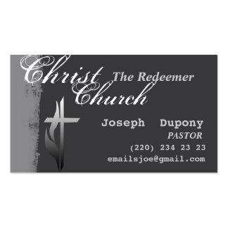 Cruz cristiana con la llama plantilla de tarjeta de visita