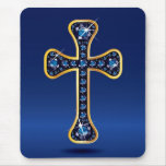 "Cruz cristiana con las Falsas piedras del ""zafiro"""