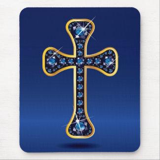 Cruz cristiana con las Falsas piedras del zafiro