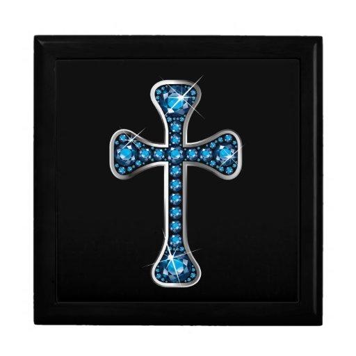"""Cruz cristiana con las piedras del """"Aquamarine"""" Joyero Cuadrado Grande"""